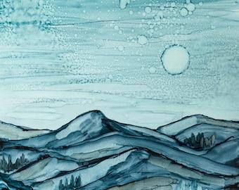 Contemporary Alcohol Ink Artwork--Modern Landscape, Abstract Art, Contemporary Art, Modern Art