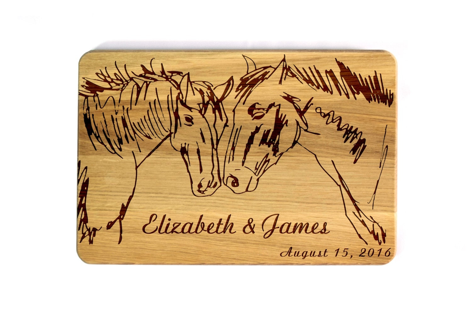 engraved cutting board wedding gift for couple wedding horses
