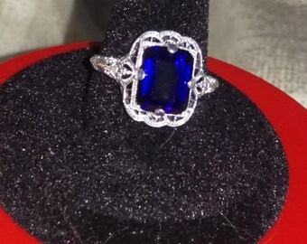 Antique sapphire, emerald cut, set in sterling silver