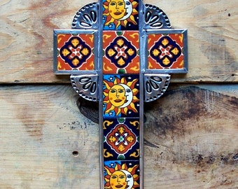 "SALE Big Mexican cross Sun Moon multi color ceramic tiles mounted in metal wall decor vintage look hand made 8"" x 6"""