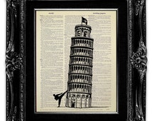 Funny TRAVEL Wall Art, ITALIAN Art, Travel Poster, Italian Decor, Italian Wall Decor, Italian Poster, Karate, Kung Fu Leaning Tower of PISA