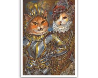 The Cat Knight / Medieval Cat Art Print / Classic Cat Portraits of Animal Century