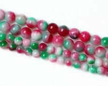 6-12mm Green Red White Colored Round Jade Beads, Semi Precious Gemstone Beads, Candy Jade, Watermelon Beads, Lampwork Beads, Wholesale