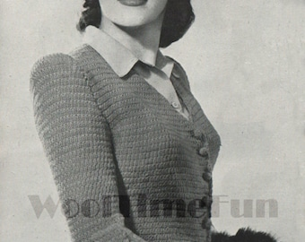 Vintage Knitting Pattern Ladies 1940s Fitted Jacket With Bustle. PDF Instant Download.