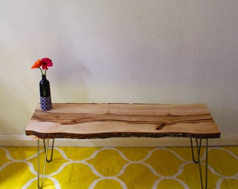 Coffee table reclaimed chestnut slab with steel hairpin legs