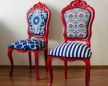 Red Lead and Oriental Pattern Fabric Vintage Cosy French Chairs