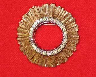 Vintage Round Copper Tone Brooch with Aurora Borealis Rhinestones
