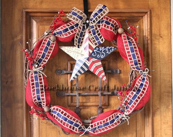 4th of July|Red White and Blue|Rustic|CountryWreath|Patriotic Burlap Wreath | Summer Wreath| Labor Day|Country Wreath|Star Wreath|Handmade