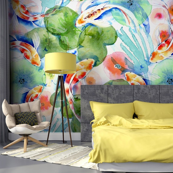 Mural Wallpaper Removable Wallpaper Watercolor Fish