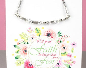 Faith Morse Code Necklace -Inspirational Necklace - Morse Code Necklace - Handmade Necklace with a Stainless Steel Chain