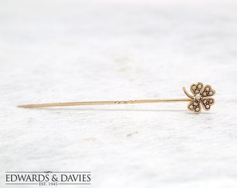 Gold and Pearl Clover Stick Pin | Clover Lapel Pin | Antique Pin | Four Leaf Clover Pin | Antique Jewelry | Antique Jewellery |Hat Pin