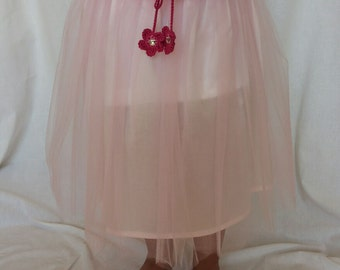 Pink tulle skirt girls clothing handmade custom cloth underskirt cotton crochet