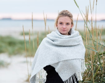 Blanket Scarf Handwoven Merino Alpaca Wool blend Natural & Warm material made in Italy