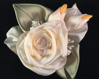 Cream Ribbon Rose Corsage Pin or Hair Clip