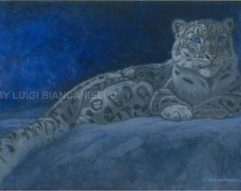 Wall Art MOOD INDIGO(Snow Leopard) -wildlife fine art print