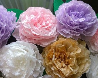Large Paper Peonies, Coffee Filter Flowers, Large paper floral centerpiece, backdrop, cake toppers, Stemless flowers, Big paper peonies