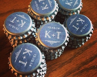 30+ Custom Bottle Cap Magnets - Wedding Party Favors Refrigerator Magnets Beer Cap