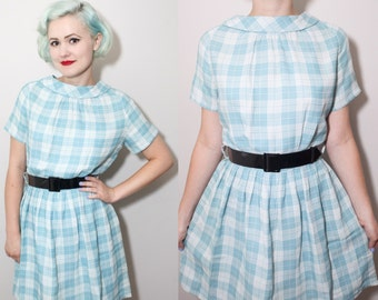 Vintage 1960's Blue & White Plaid Pleated Full Skirt Dress   Boatneck   Medium