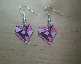 Earrings heart origami rose
