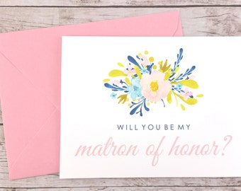 Will You Be My Matron of Honor Card, Matron of Honor Proposal Card, Floral Wedding Card, Matron of Honor Gift, Bridal Party Card - (FPS0018)