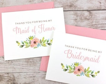 SET OF Thank You For Being My Bridesmaid Cards, Maid of Honor Cards, Flower Girl Cards, Matron of Honor Cards - (FPS0013)