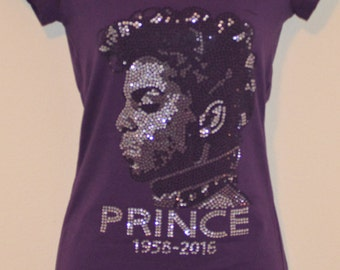 Prince Face Tribute Rhinestone Purple T Shirt