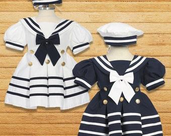 Toddler Nautical Marine Sailor Dress Costume with Hat, Halloween Birthday
