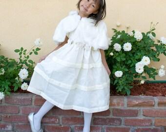 2-Piece Bridal Satin Mesh Dress Bolero Shawl
