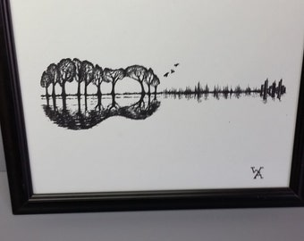 Custom black and white guitar forest/cityscape hand drawn art print
