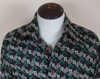 Mens Vintage 1970s Long Sleeve Disco Fitted Shirt Geometric Print