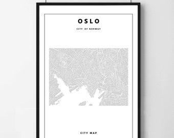 Poster poster map of Oslo simple and minimalist, feminine decoration for the House.