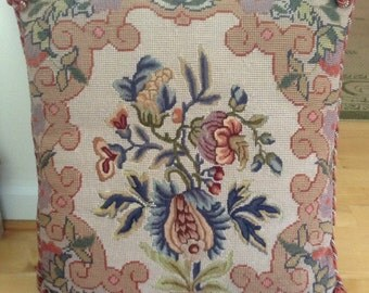 Needlepoint Pillows with Petit Point Botanicals