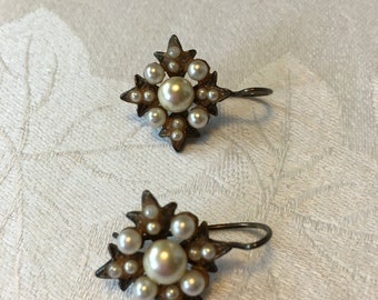 Vintage Roman style pearl earrings
