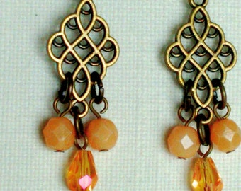 Peach Czech Crystal and Antiqued Brass Dangle Earrings
