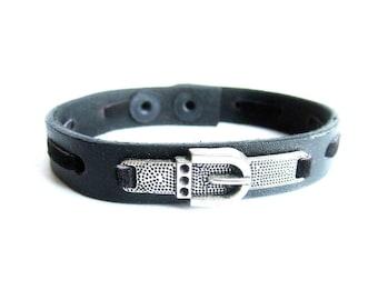 Mens black leather bracelet, buckle bracelet, mens black leather bangle, buckle leather bracelet, italian jewelry
