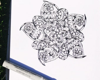 Flower Mandala coloring page, handmade, instant download