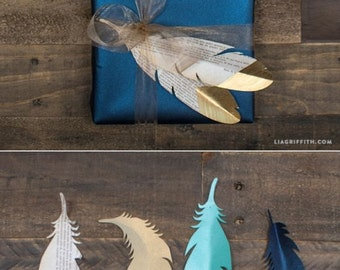 Gold Tipped Paper Feathers (Set of 10)