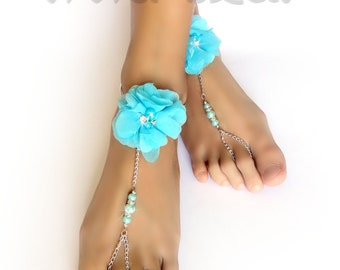 Barefoot Sandals. Foot Jewelry. Aqua Blue Chiffon Flowers. Pearl Beads and Clear Rhinestones. Silver Anklets. Beach Wedding Shoes. 2 pcs.