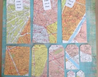 Vintage paper Tags (set of 2) / labels vintage (batch 2) - real map of Paris / real map of Paris - set of 10/set of 10