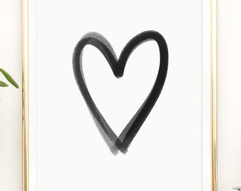 Black and white heart modern art Printable artwork print by PrintableHappies / 8x10 / 5x7 / 4x6 / instant download / love / hearts