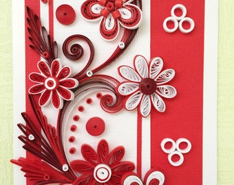 Beautiful Quilled Card in Red and White