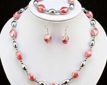 magnetic hematite  bead necklace pink porcelain beads and magnetic clasp