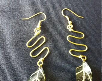 Olive oil bottle Leaf Dangle Earrings