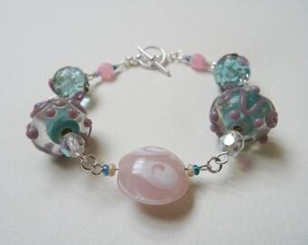 Pretty Pink and Turquoise Glittery Flower Glass Bracelet. Aquamarine Dream.