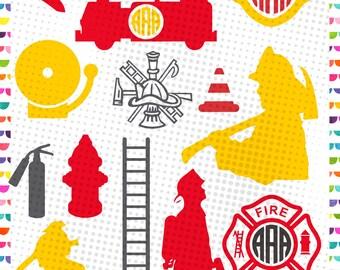 Fireman monogram svg - firefighter svg – fire department svg - Cutting Files eps svg dxf png -Firetruck monogram – Instant download