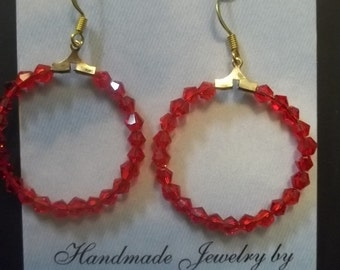 Red Swarovski Crystal Hoop Earrings