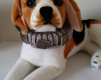 Grey Knitted Pet Collar Dogs and Cats