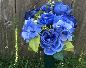 Blue Cemetery Ground Vase