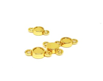 2 Gold Plated Link Settings, 7mm Round Flatback Setting for Swarovski Rhinestone, Tiny Link Connector, Bezel Setting,for SS20 Crystal,TM8303
