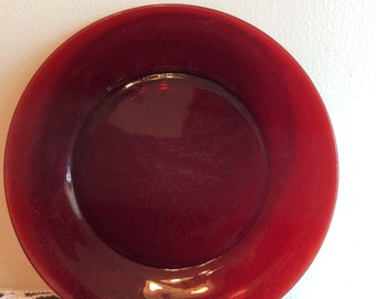 Vintage Red Glass Plate